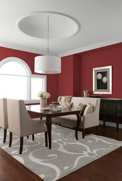 Grey Living Room With Red Accent Wall