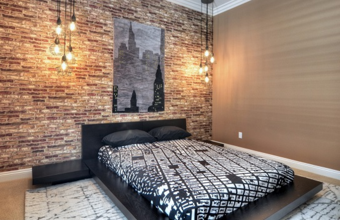 Faking an exposed brick wall brinjals design for Brick wallpaper interior design